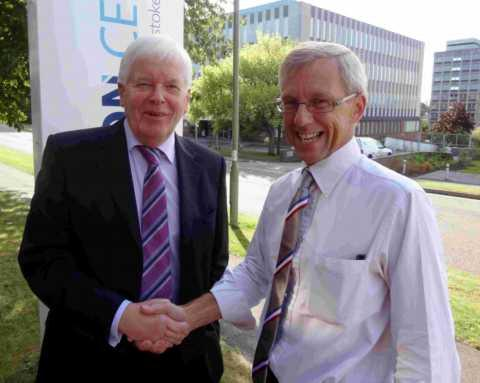 L-R: Destination Basingstoke chairman Mike Loftus with Phillips Solicitots director Jonathan Pender