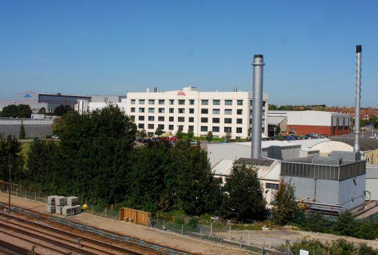The Eli Lilly site from across the railway line