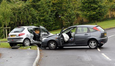 The drivers and a passenger escaped injury in this nasty-looking collision