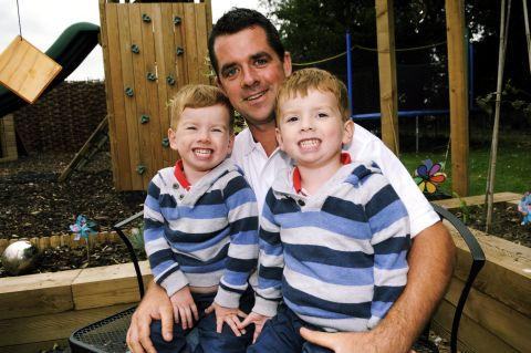 Founder Tony Hart with three-year-old twins Freddie (left) and Noah