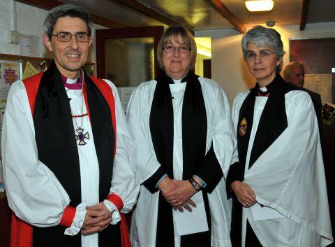 (From left) The Bishop of Winchester, The Rt Rev Tim Dakin, The Rev Alison Bennett and Rev Canon Jo Stoker, Team Rector of the parish of Basingstoke