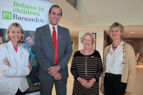 From left to right: Kate Mosse, Jez Alcock of Barnardo's, Stephanie McKinlay and Angie Henderson of Winchester Barnardo's Helpers Group