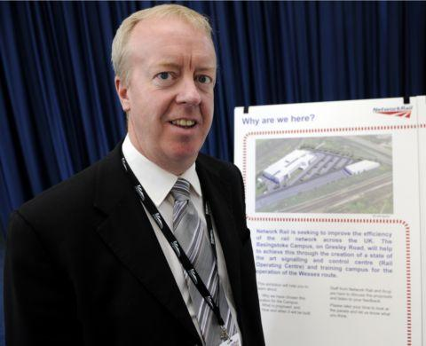 Steve Brown, programme manager for Network Rail, at the Gresley Road regeneration exhibition
