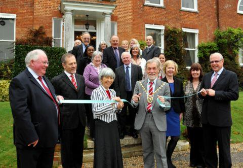 Mayor of Basingstoke and Deane Cllr Martin Biermann opens the Children's Family Trust office at Worting House, Basingstoke