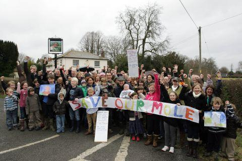 Campaigners outside The Mole Inn