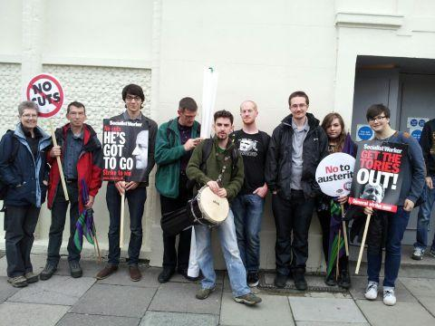 Basingstoke Youth Movement's Daniel O'Loughlin, centre, with other protesters