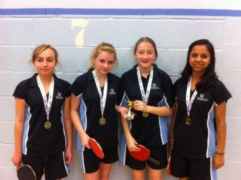 The Costello School girls team celebrate winning the Hampshire title.