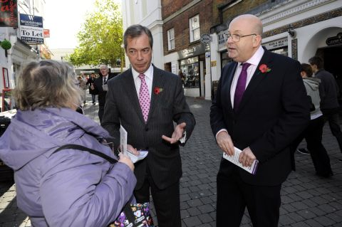 Cllr Stephen West, right, pictured with UKIP leader Nigel Farage on the PCC campaign trail in Basingstoke