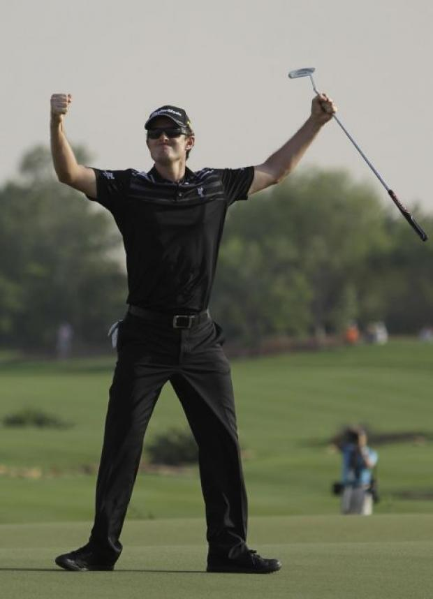 Justin Rose celebrates at the end of his excellent final round.