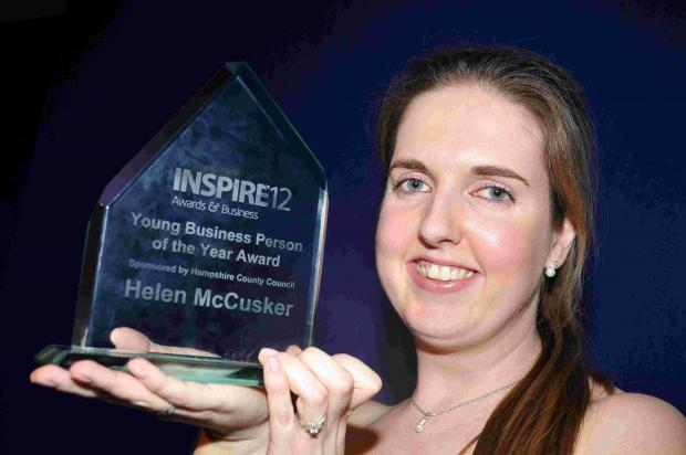 Helen McCusker of Booked PR with her INSPIRE12 award