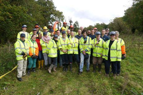 Volunteers help clear overgrown land at Milkingpen Lane, Old Basing