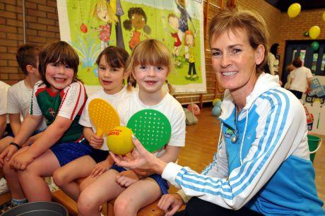 (From left) John Morris, six, Grace Rogers, six, and Jasmin Poulter, six, with Judy Murray.