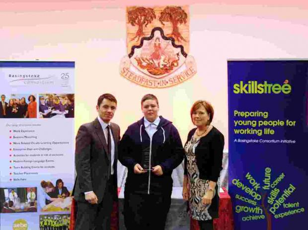 Student of the Year Chris Dingley, from Everest Community Academy, with BBC South Today presenter Allen Sinclair and Carel Rose from AXA Wealth