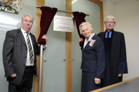 (From left) Beverley Jones, chairman of North Hampshire Magistrates' Court, Hampshire Lord Lieutenant Dame Mary Fagan, and District Judge David Karney
