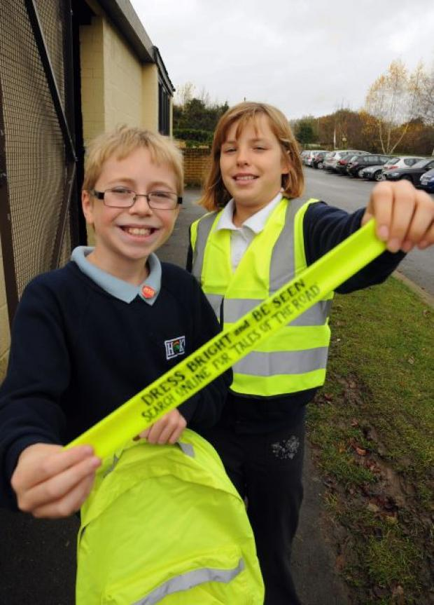 Basingstoke Gazette: Harry Wall, 10, and Emily Harris, 10, both from Hook Junior School