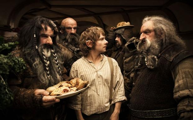 Martin Freeman (centre) as Bilbo Baggins