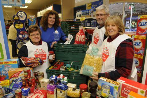 From left: Angela Smith, Julie Sheppher, Colin Grant and Hazel Green with some of the food bank donations
