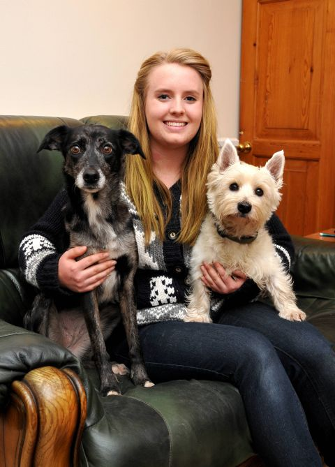 Cara McKinnon with her dogs Lizzie and Freddie