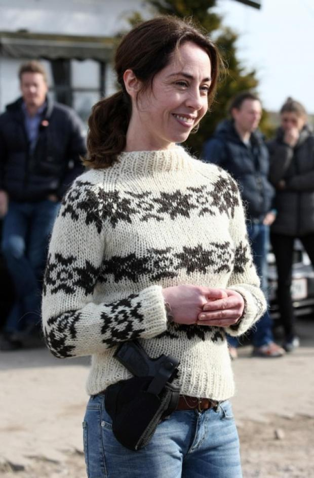 Sofie Grabol on set in the famous jumper - pic Chris Radburn