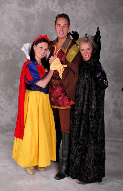Sarah Day, as Snow White, Luke Roberts, as The Prince, and Lucy Benjamin, as The Wicked Queen