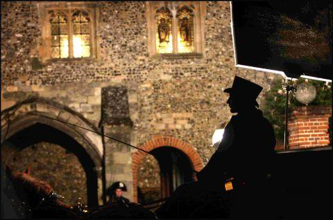 A scene from Les Miserables filmed in College Street, Winchester