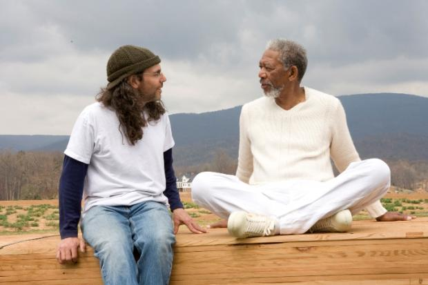 Tom directing Morgan Freeman in Evan Almighty