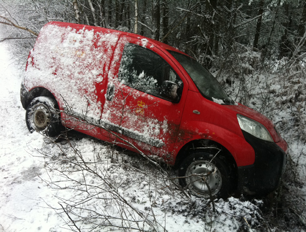 A post van crashed in the snow near Ringwood.