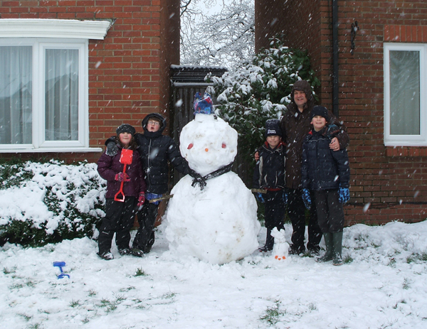 Dave Brine with his family snowman.