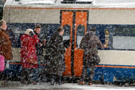 Passengers boarding a train today at Basingstoke. Pic by Paul King