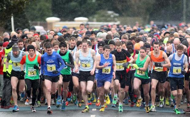 Runners at the start of today's race