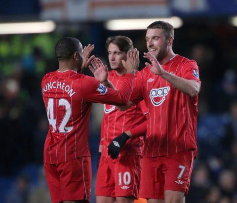 Rickie Lambert celebrates after scoring against Chelsea last week.