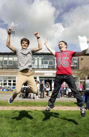 Laurence Hall and Sam Short of the The Hurst Community College, celebrating their exam results last year