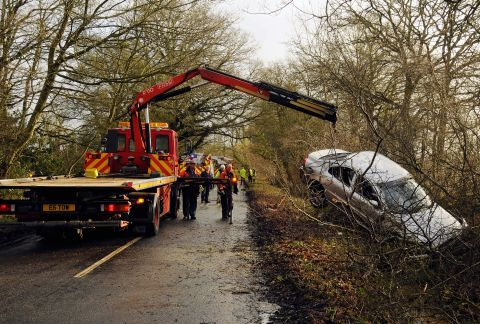 The car being lifted from