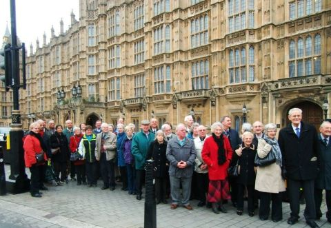 The Probus Club group waiting to go into Parliament