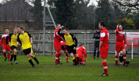 Lee Wood celebrates scoring for Tadley.