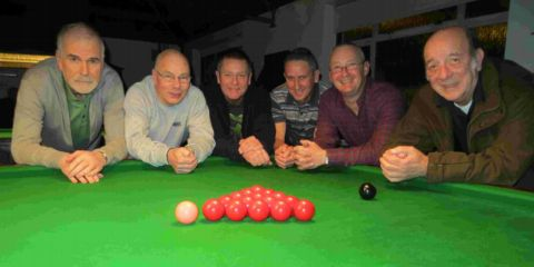 Totton Recreation Club D: From left: Jim Clark, Brian Hobbs (capt), Richard Channell, Barry Garrett, Mike Bagley, John Ranson. Not pictured: director of snooker Nigel Peacock.