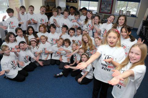 Some of the Overton Primary School pupils who took part in Young Voices 2013