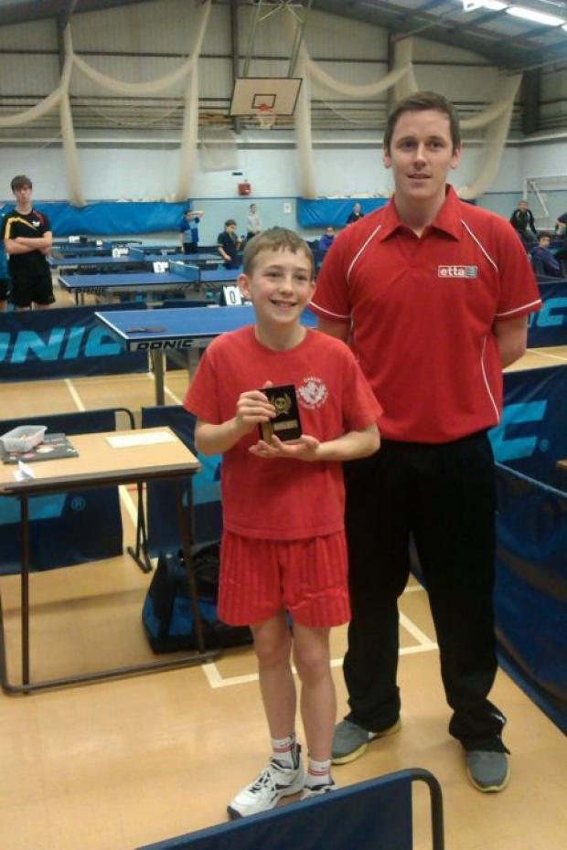 Simon Parker with Alex Howell, the English Table Tennis Association Southern Region coach.