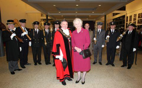 Dame Mary Fagan with Mayor of Southampton Cllr Derek Burke and mace bearers from around the county