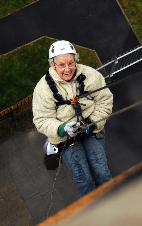 Daredevil great-grans abseil 60ft down the side of Basingstoke hospital