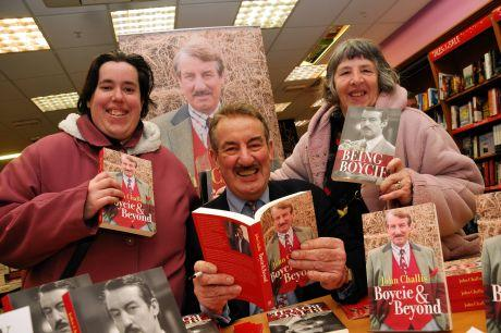 John Challis with fans Tracey Randall, left, and Susan Randall