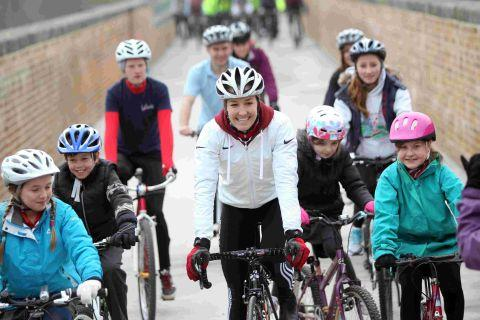 Dani King: leading cyclists over the viaduct