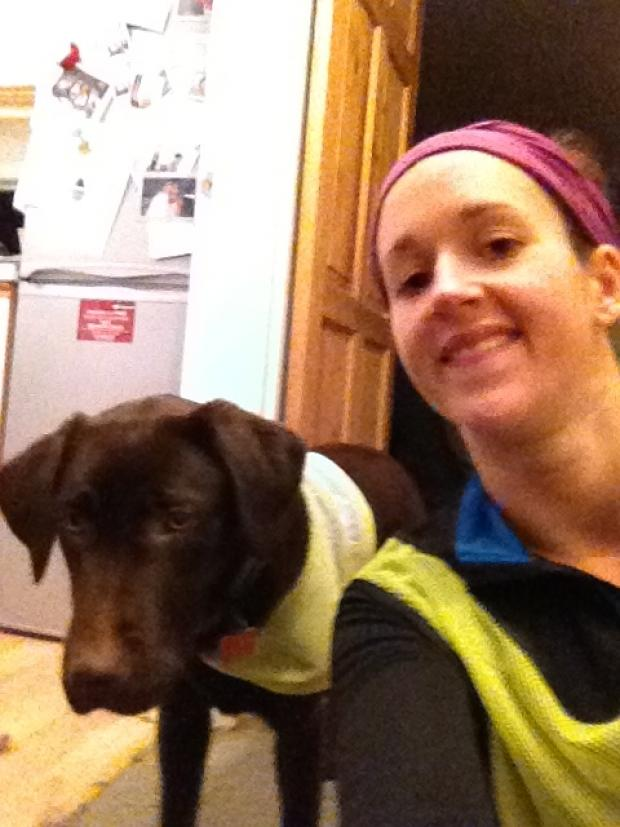 Natalie Robson with her sometimes training partner Mars the Labrador