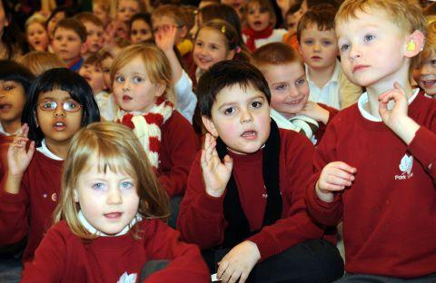 Park View pupils take part in a world record attempt for the most people singing and signing at the same time