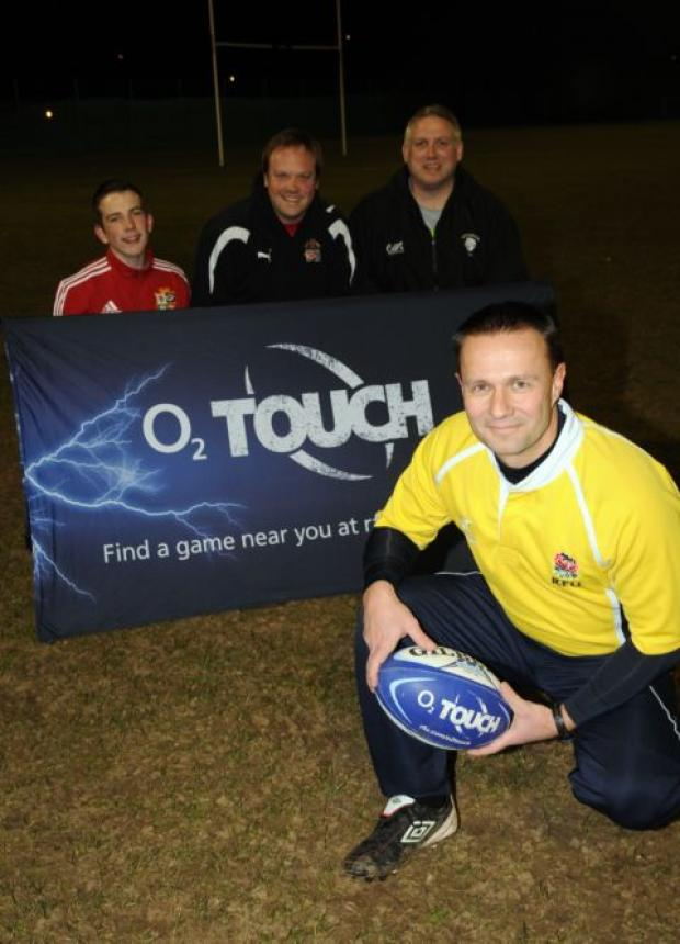 Touch rugby organiser Dean Crossley with Kurtis Eagle, James Croker and Jim Darragh.