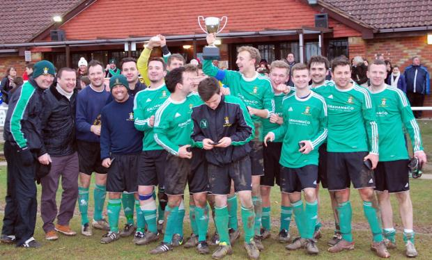 Barton Stacey celebrate winning the North Hants Senior Sunday Cup after beating Thruxton at Foxcotte Park, New Street.