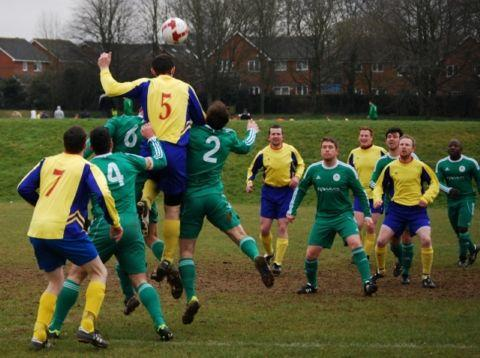 Action from the game between CI (blue/yellow) and Chineham Athletic.