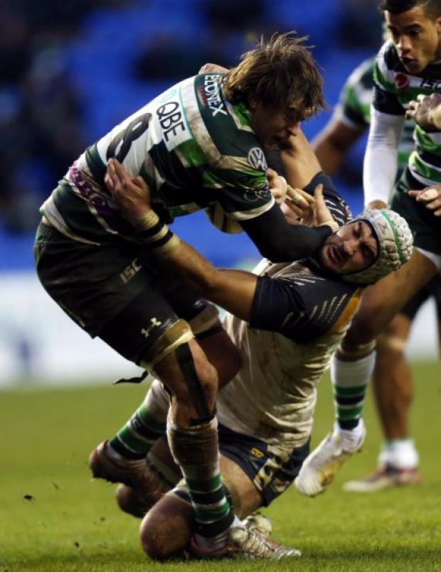 Blair Cowan makes a tackle playing against London Irish earlier this season.
