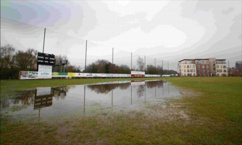 Totton & Eling Cricket Club's ground, which is partially submerged