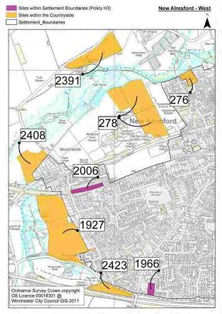 Some of the land around Alresford suggested for development
